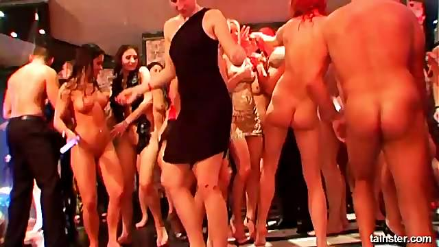 Sex starved party girls suck then ride hard cocks at a club orgy