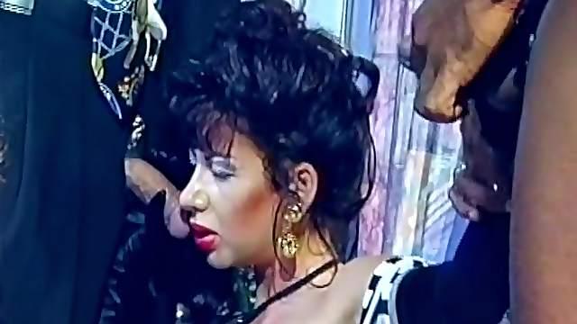 Slutty Brunette's Gangbanged In A Vintage Clip