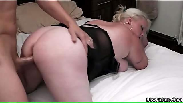 Slutty BBW in lingerie laid by stiff cock