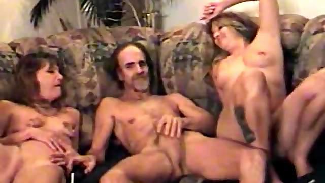 Trailer trash whores take turns riding his dick