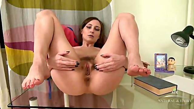 Chick in sexy black high heels masturbates solo
