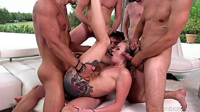 Energized MILF gang banged and made to swallow