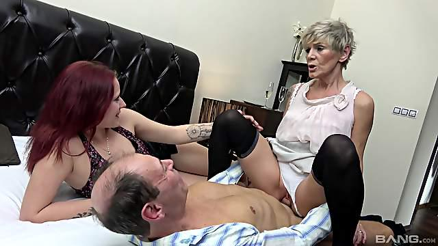 Smooth cock sharing home porn between granny and the young niece
