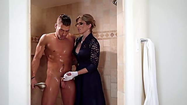 Tight mature works cock in the shower during home incest