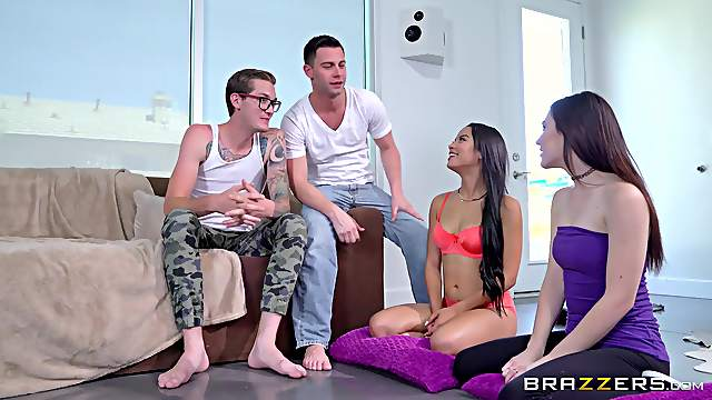 Tight women share and swap partners in crazy foursome