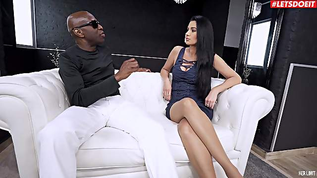 Black dude makes sure to gag her before destroying her cunt
